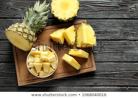 Szeletel ananász vágódeszka friss érett étel Stock fotó © furmanphoto