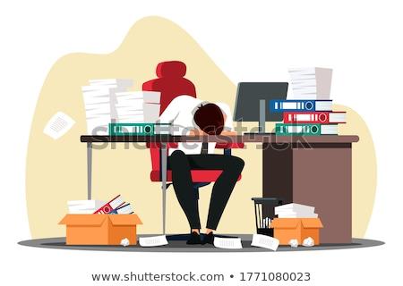 Túlhajszolt üzletember hangsúlyos néz mappák dolgozik Stock fotó © AndreyPopov