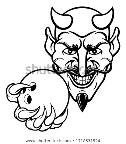 дьявол боулинг спортивных талисман мяча Сток-фото © Krisdog