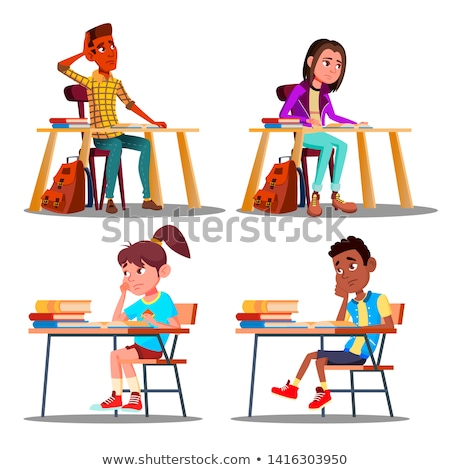 Characters Bored Pupils During Lesson Set Vector Stock photo © pikepicture