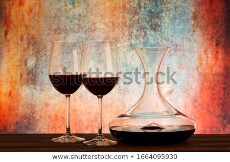 şarap kadehi ahşap masa taş duvar uzay gıda ahşap Stok fotoğraf © karandaev