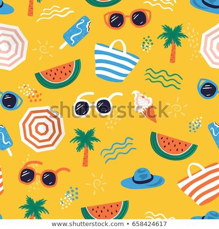 estate · tropicali · icone · set · isolato · vettore - foto d'archivio © netkov1