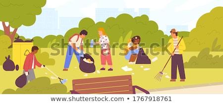 Parku scena śmieci ilustracja papieru projektu Zdjęcia stock © bluering