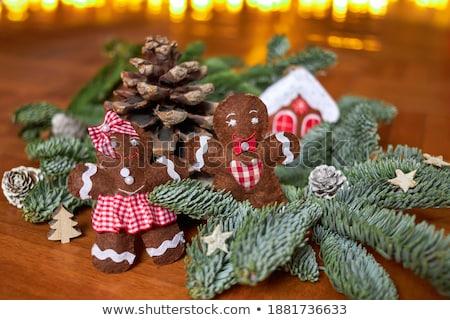 Karácsony mézeskalács férfiak kék terv háttér Stock fotó © furmanphoto