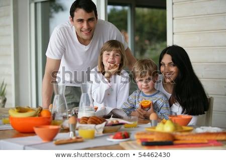 Mama syn śniadanie taras żywności dziecko Zdjęcia stock © galitskaya