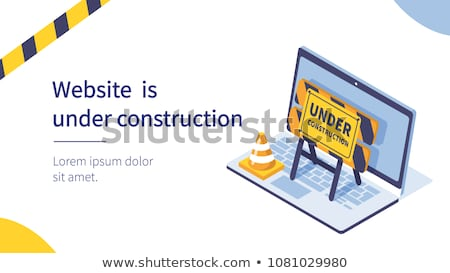 Website under construction text with construction illustration against yellow background Stock photo © wavebreak_media