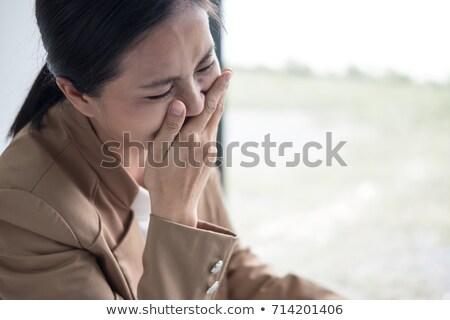 mulher · jovem · sofrimento · choro · pranto · cara · mulheres - foto stock © freedomz