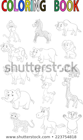 Szett majmok állat betűk kifestőkönyv feketefehér Stock fotó © izakowski