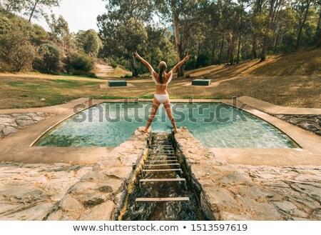 ストックフォト: 女性 · 公園 · 山 · 水 · アップ · 小川