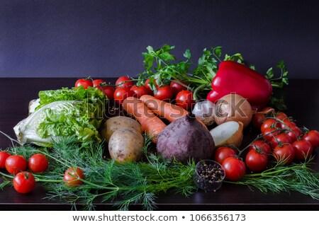 Vers organisch bieten groene bladeren mand oogst Stockfoto © Illia