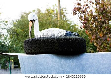 Tó öreg autógumik szemét újrahasznosítás papír Stock fotó © galitskaya