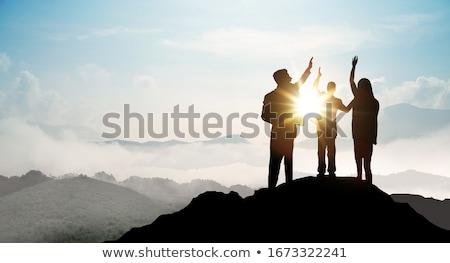 事業者 先頭 岩 小さな 空 お金 ストックフォト © ra2studio