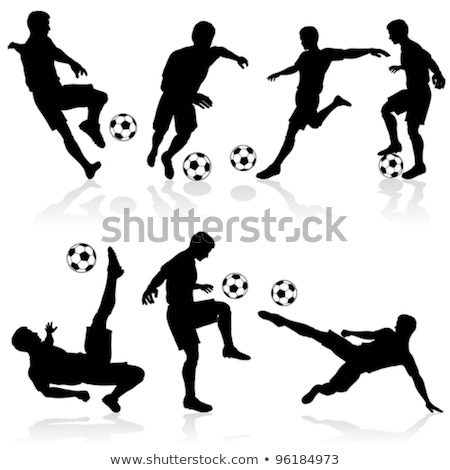 sziluettek · futball · játékosok · szett · futball · különböző - stock fotó © -talex-