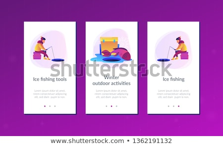 Lodu połowów app interfejs szablon rybaka Zdjęcia stock © RAStudio