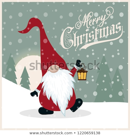 beautiful retro christmas card with gnome stock photo © balasoiu