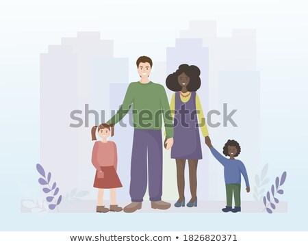 Europese familie vader moeder dochter zitten Stockfoto © vkstudio