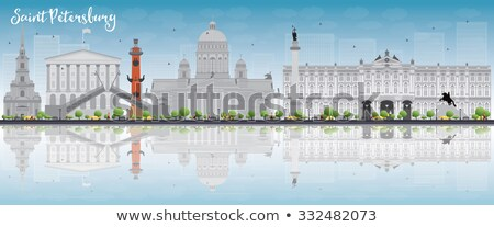 Saint Petersburg skyline with gray landmarks and copy space.  Stock photo © ShustrikS