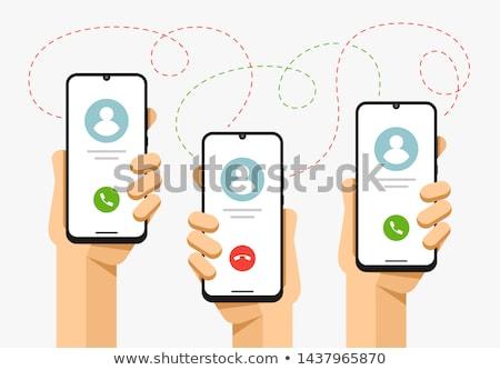 Smartphone ludzka ręka spadać rozmowa telefoniczna połączenia Zdjęcia stock © karetniy