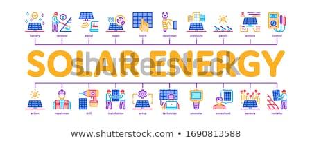 Energía solar mínimo infografía banner vector web Foto stock © pikepicture