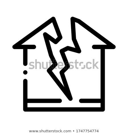 Молния разрушенный дома икона вектора Сток-фото © pikepicture