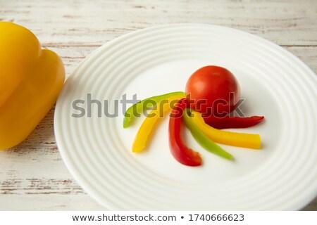 カット 赤 トマト 手 ホールド ナイフ ストックフォト © Ansonstock