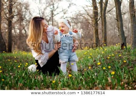 Stock fotó: Gyerekek · átölel · egyéb · mező · tulipánok · nap