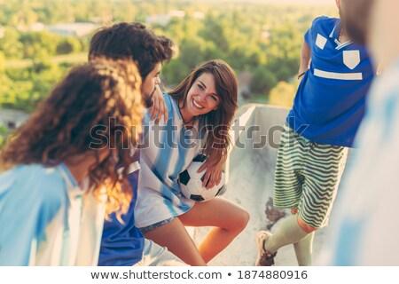 Barátok elvesz törik játszik futball futball Stock fotó © photography33