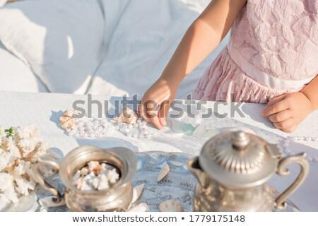loiro · rosa · vestir · pérolas · branco - foto stock © dolgachov
