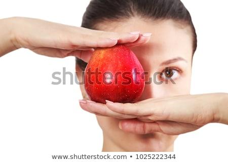 Сток-фото: красное · яблоко · женщину · девушки · стороны · лице