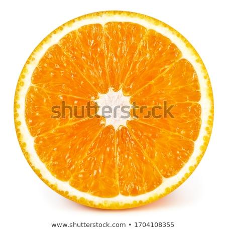 Foto stock: Dois · seção · transversal · laranja · isolado · branco
