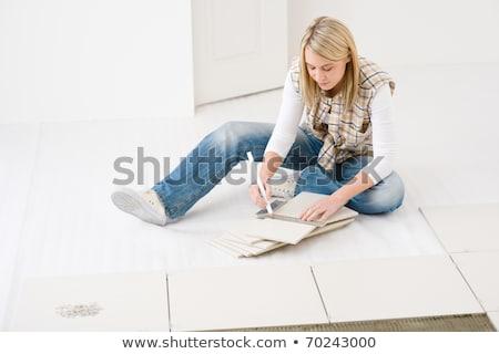 Nő vág csempe építkezés otthon munkás Stock fotó © photography33