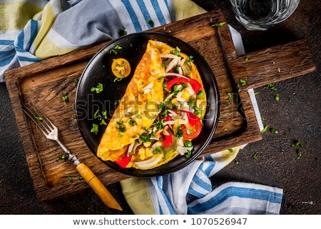 omelette in pan Stock photo © M-studio