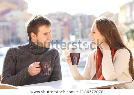Stock photo: Man Having A Coffee On A Terrace