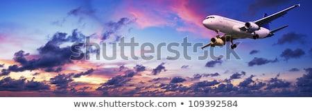 Foto stock: Aeronave · pôr · do · sol · céu · panorâmico · sol · mar