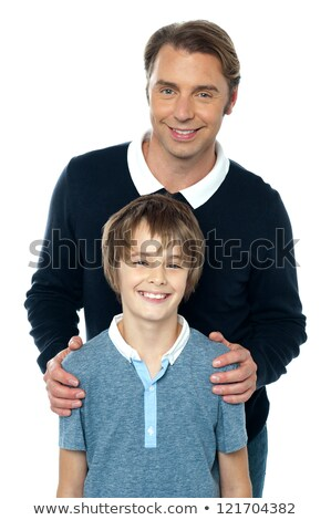 Man in blue pullover posing with his son Stock photo © stockyimages