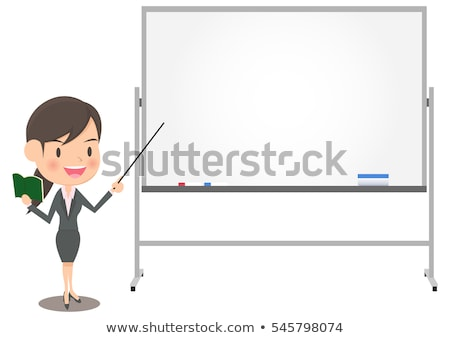 smiling young woman posing with white board stock photo © acidgrey