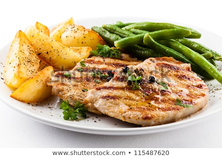 plate of vegetables; fries and beefsteak Stock photo © M-studio