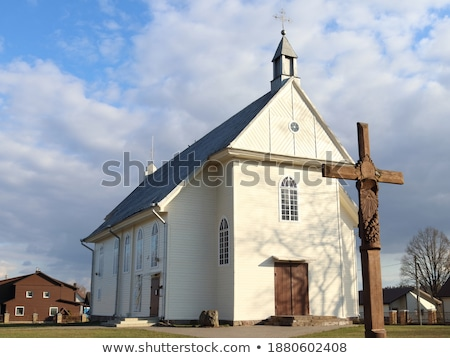 Window old wooden church built of Stock photo © pzaxe