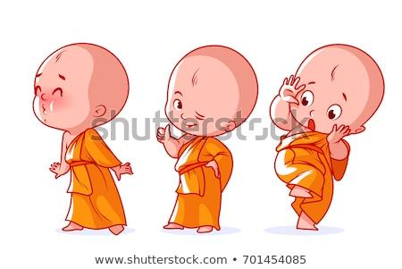 Küçük keşiş oyuncak bebekler Tayland eller gülümseme Stok fotoğraf © bbbar