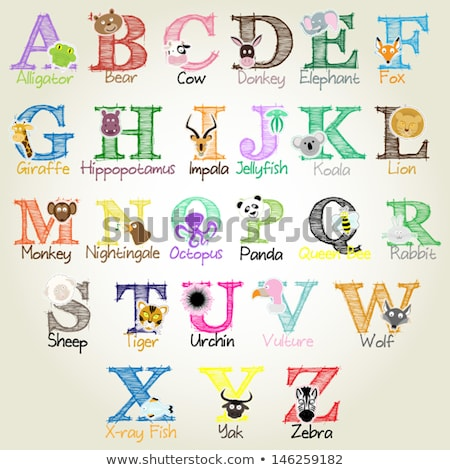 Hayvan alfabe kurt okul arka plan sanat Stok fotoğraf © kariiika