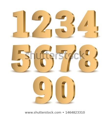 Altın 3D numara basamak yalıtılmış beyaz Stok fotoğraf © tashatuvango