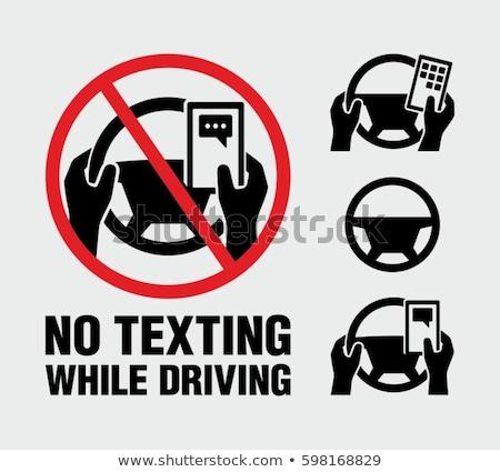 Sms chat vezetés figyelmeztetés beton telefon fal Stock fotó © mikemcd