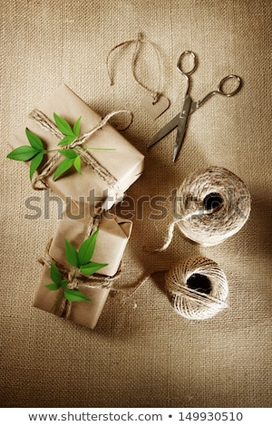 Kordon makara hediye kutusu rustik doğal stil Stok fotoğraf © Melpomene