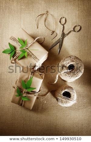Cordon bobine coffret cadeau rustique naturelles style Photo stock © Melpomene