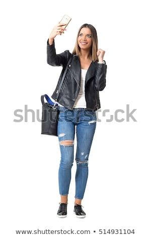 mooie · sexy · jonge · vrouw · grijs · jeans · vrouw - stockfoto © feedough