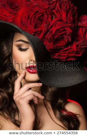 Beauty Vogue Style Fashion Model Girl in black hat. Manicured na Stock photo © Victoria_Andreas