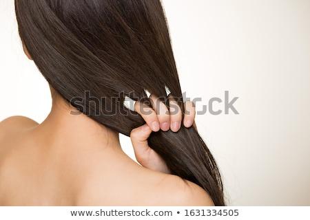 Cabelo mulher cinza estúdio mãos mulheres Foto stock © jayfish