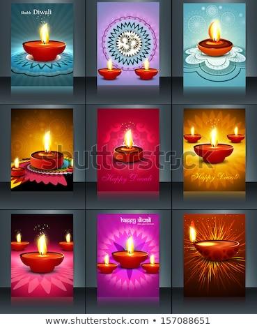 Vector Diwali lamp reflection beautiful rangoli colorful art cel Stock photo © bharat