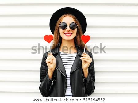 bela · mulher · batom · vermelho · vermelho · coração · branco - foto stock © kor