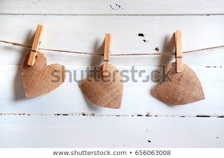 счастливым Валентин брезент сердцах подвесной древесины Сток-фото © tobkatrina